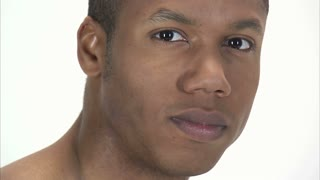 Black Man Staring with White Background
