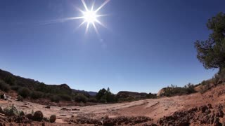 Blazing Sun on Desert Landscape Fisheye