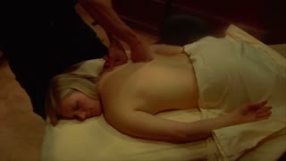 Blonde Woman Is Massaged Push In