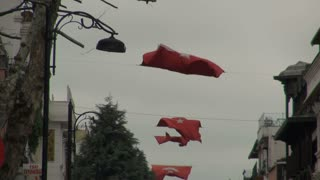 Blowing Turkish Flags Strung Above Street 2
