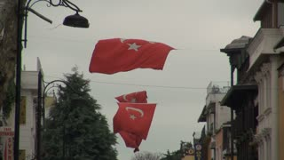 Blowing Turkish Flags Strung Above Street