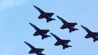 Blue Angels Flying in V Formation, Slow Motion