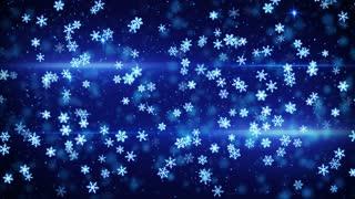 blue glowing christmas snowfall loop 4k (4096x2304)