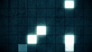Blue Glowing Square Grid Wall