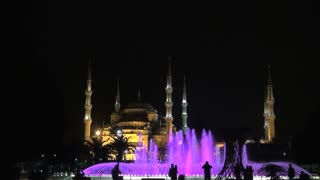 Blue Mosque and Colorful Fountains at Night