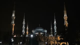 Blue Mosque Domes and Spires Night