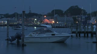 Boat Docked in Calm Twilight Harbor