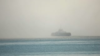 Boat going into the cloudy background 1