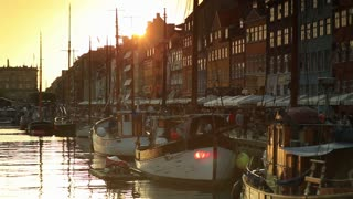 Boat Harbor at Sunset in Copenhagen, Denmark