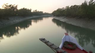 Boat Moving Through Sunderbans in India