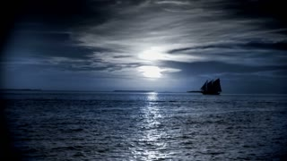 Boat on Moonlit Sea