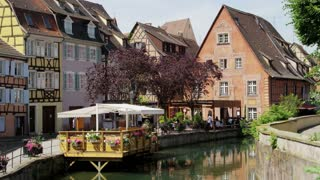 Boat Tour and Restaurants Along Colmar, France Canal