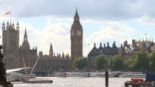 Boats And Big Ben Across River Thames