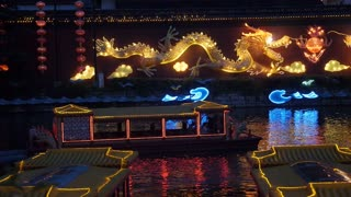 Boats and Festive Lights Outside Confucian Temple