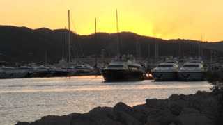 Boats in Harbor at Dusk in Spain