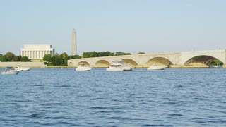 Boats Next To Arlington Memorial Bridge