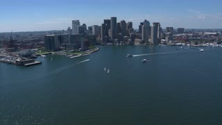 Boats Off Boston Coast And Skyline