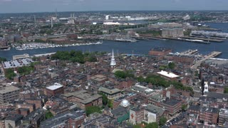 Boston Aerial View Zoom In On Old North Church