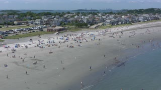 Boston Beach Aerial View With Sea Birds Flying Along