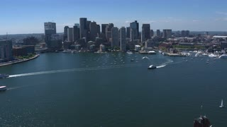Boston Financial District And Harbor Aerial Shot