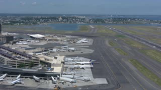 Boston Logan Aiport Zoom In On Plane On Runway