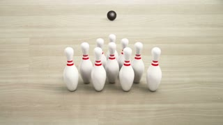 Bowling Strike From Behind Pins