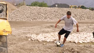Boy Doing Soccer Trick in Slow Motion