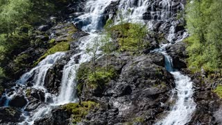 Bratlandsdalen Flesaafossen Waterfall , Norway