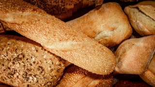 Breads and baked goods close-up. Shot in 4K (ultra-high definition (UHD))
