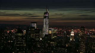 Bridge And Freedom Tower NYC Aerial