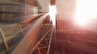 bridge building. sun beam. sun rays. futuristic architecture. light