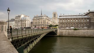 Bridge over the River Seine, a famous Landmark in Paris, France, Europe - T/Lapse