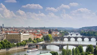 Bridges of Prague including the famous Charles Bridge over the River Vitava  Czech Republic, Europe - T/Lapse