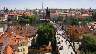 Bridges of Prague, this is the famous Charles Bridge over the River Vitava, Czech Republic, Europe - Time lapse