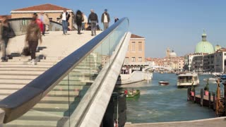 Bridges of Venice, people crossing one of the many bridges over the Grand Canal, Venice, Italy, Europe