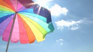 Bright Beach Umbrella and Sun
