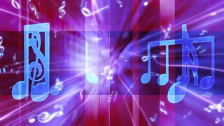 Bright Blue Music Note On Purple
