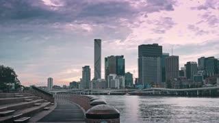BRISBANE, AUSTRALIA - JUNE 30, 2016 : Timelapse Brisbane City Clem Jones Promenade Boulevard