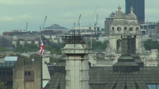 British Flag Waving In Skyline