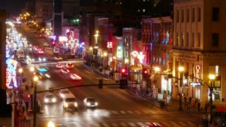 Broadway Nashville Tennessee Nightlife Time Lapse Zoom Out. Long exposure time lapse shot of famous Broadway entertainment district of downtown Nashville, Tennessee. Zoom out.
