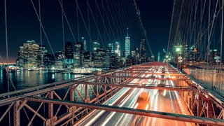 Brooklyn Bridge at Night | 4K timelapse sequence shot on Brooklyn Bridge at night in New York City.