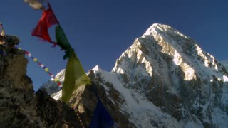 Buddhist Prayer Flags on Rocky Ridge