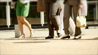 business people walking. slow motion. shoes fashionable. legs foots feet
