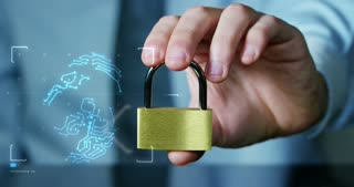 businessman show a padlock in safe sign with futuristic holographic about services and safety.concept of:password,Protection system files from technological hacker internet or banking system