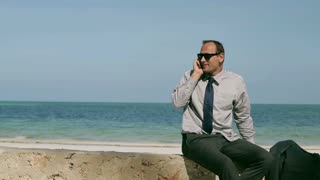 Businessman talking on cellphone on the beach