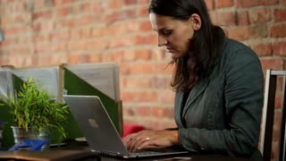 Businesswoman on laptop at home