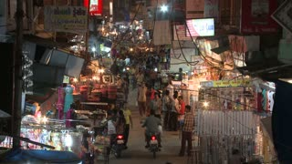 Bustling Market at Night in India