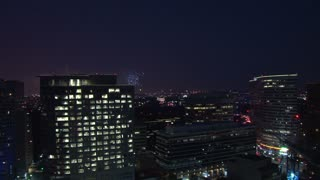 Bustling Washington DC With Fireworks Show in the Distance