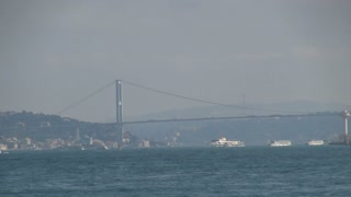 Busy Bosphorus Bridge and Sea Traffic