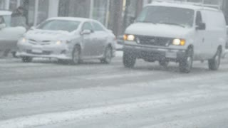 Busy Intersection in Heavy Snow